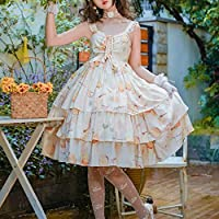 ビクトリア朝ヴィンテージ甘いロリータjskドレス女装原宿ノースリーブ蜂蜜レモンを印刷プリンセスパーティードレスドレス