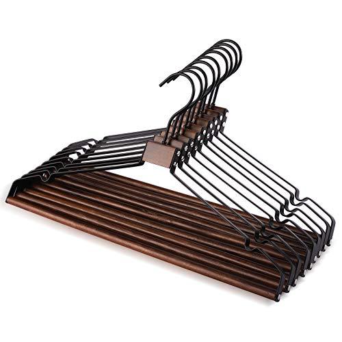 HOUSE DAY 10 piezas de madera de hierro percha de metal de madera maciza percha pantalones percha multifuncional armario percha nogal 17.3 pulgadas