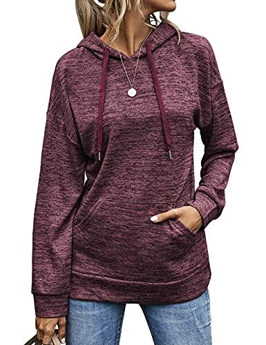 Rapbin Sudaderas lisas con capucha de manga larga con capucha para mujer camiseta con cordón casual sudadera con dos bolsillos, rojo vino, M
