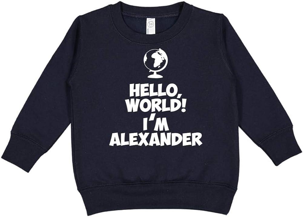 Im Alexander World Personalized Name Toddler//Kids Sweatshirt Mashed Clothing Hello