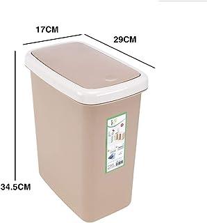 ZXJshyp Trash Bin Creative Narrow Bathroom Trash Can Flip Living Room Office Hand Pressure Waste Bin (Color : Brown, Size...