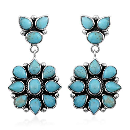 SANTA FE Style 925 Sterling Silver Turquoise Southwest Jewelry Drop Dangle Earrings for Women Mothers Day Gifts Gift