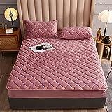 HAIBA Protector de colchón con borde de ajuste | también adecuado para camas de somier y camas de agua | microfibra | 100% poliéster | colchón de color rosa | 180 cm x 200 cm + 30 cm (3 piezas)