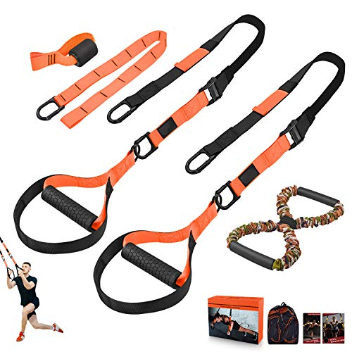 NMVB Bodyweight Resistance Training Straps, Complete Home Gym Fitness Trainer kit for Full-Body Workout, Included Door Anchor, Extension Strap, 16 Week Program, Fitness Guide (Orange)