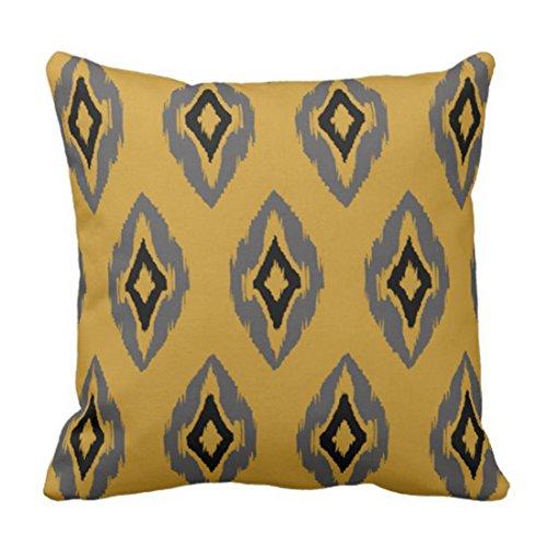 Jhonangel Throw Pillow Cover Cute Contemporary Modern Mostaza Gris Negro Ikat Tribal Pattern Colorful Batik Funda de Almohada Decorativa Decoración para el hogar Funda de Almohada Cuadrada 18x18inch