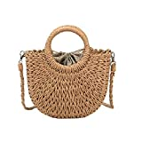 Women Straw Crossbody Bag Summer Beach Weave Shoulder Bag Rattan (Brown)