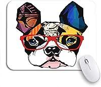 可愛いマウスパッド ノートパソコン、マウスマット用の動物の滑り止めのゴム製バッキングマウスパッドを身に着けているフレンチブルドッグの水彩犬の肖像画