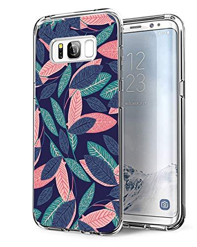 Coque Samsung Galaxy S8+ Plus, Bumper Housse Etui [Liquid Crystal] Ultra Mince Protection Premium TPU Silicone Premium Transparent/Exact Fit/Souple pour Samsung S8+ (Feuilles Colorées)