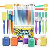 Complete Set of 30 Paint Brushes Bundle with Crayola Washable Kid's Paint (6 count) – Washable Kids Paints...
