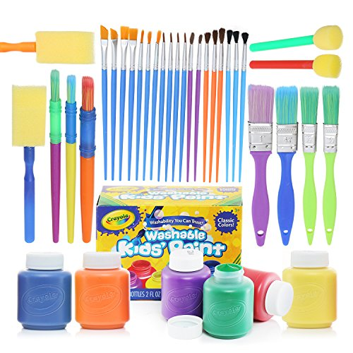Complete Set of 30 Paint Brushes Bundle with Crayola Washable Kids Paint (6 count)