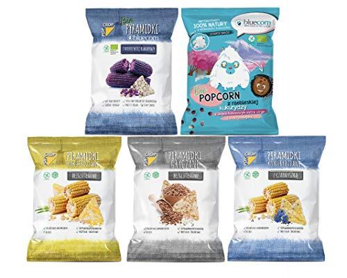 POPCROP Party-Mix Snack Box 10cio Pack (2 x Kukurydza, 2 x Gryka, 2 x Czarnuszka, 2 x Bio Bluecorn, 2 x Bio Popcorn). Bezglutenowe, Wegańskie Chipsy powoli wypiekane z pełnych ziaren zbóż (nie smażone) | Bez dodatku cukru, oleju i żadnej chemii
