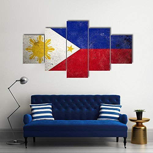 ARIE Leinwanddrucke 5 Stück Leinwand Bilder Wanddeko Wand Philippinen Flagge Hd Poster Kunstwerke Malerei Weihnachten Kreative Geschenke