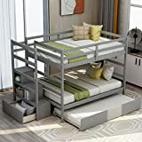 Full Over Full Bunk Bed with Twin Size Trundle, Storage, and Drawer, Twin Over Pull-Out bunk Bed for Kids, Adult, No Box Spring Needed