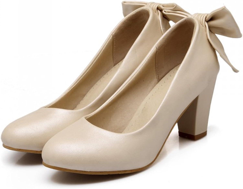 High Heel Low-cut Bowknot Work shoes Plus Size beige 36