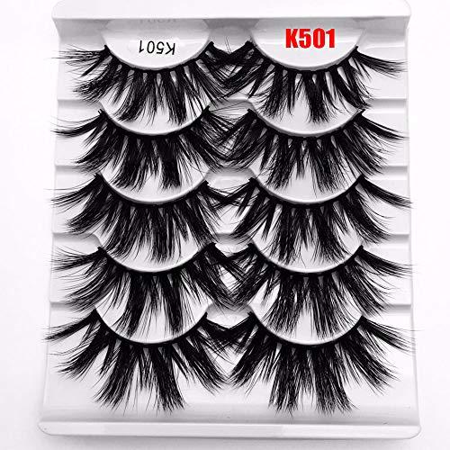 Szxbogs False Eyelashes 5 Pairs Woman's Fashion Handmade Wispy Cross Dramatic 25mm Lashes Eye Lash Extension 3D Soft Mink Hair