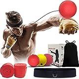 Dapang Reflejo de Boxeo, Ball Fight Ball Reflex, para Mejorar Las reacciones y la Velocidad, Ideal para Entrenamiento y Fitness, Correas de Silicona Ajustables, 3 Bolas,Negro