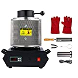 CO-Z 1900W Electric Gold Melting Furnace with Mesh Guard, 2100F Digital Metal Smelting Machine, Ingot Casting Kit with Gold Silver Copper Bronze Lead Melting Pot Crucible Cast & Tongs, 3kg 6.6lb Cap