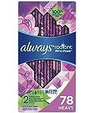 Always Radiant Feminine Pads for Women, Size 2, 78 Count, Heavy Flow Absorbency, with Flexfoam Wings, Light Clean Scent,...