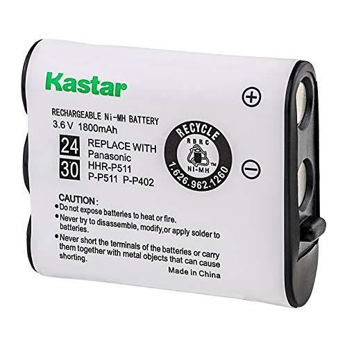 Kastar HHR-P511 / HHR-P402 Battery, Type 24 &Type 30 NI-MH Rechargeable Cordless Telephone Battery 3.6V 1800mAh, Replacement for Panasonic HHR-P511, HHR-P402, P-P511 (Detail Models in the Description)
