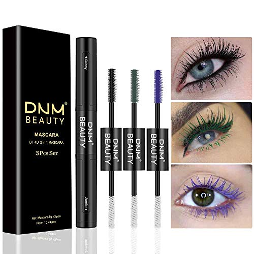 4D Silk Fiber Lash Mascara & Fiber 2-in-1 Double-End Black Green Purple Mascara Volume Set(3-Pack),for Thickening and Lengthening, Waterproof Smudge-Proof Hypoallergenic Thicker and Longer Lashes DNM