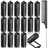 6. 18 Pieces Satin Foam Rollers Hair Sponge Rollers Black Perm Rods Heatless Wave Curlers with Rat Tail Comb for Hairdressing Styling (1.18 Inch)
