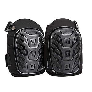 AmazonBasics – Rodilleras profesionales, relleno de espuma resistente, cómoda almohadilla de gel, con clips fácilmente ajustables, negro, 1par