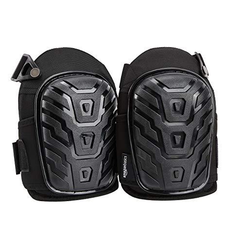 AmazonBasics – Professionelle Knieschoner, robuste Schaum-Polsterung, bequemes Gel-Polster, verstellbare, leicht fixierbare Verschlüsse, schwarz, 1 Paar