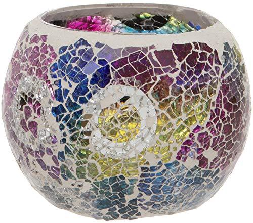 Maturi Teelichthalter aus zerbrochenem Glas mit Mosaik, Mehrfarbig, 8 x 7.5cm