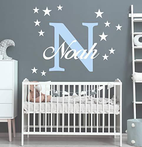 Wunschname Wandtattoo mit Sterne an der Wand Wandaufkleber Wandsticker DIY Kinderzimmer Babyzimmer (40cm / 60cm, Pastellblau-Weiss)