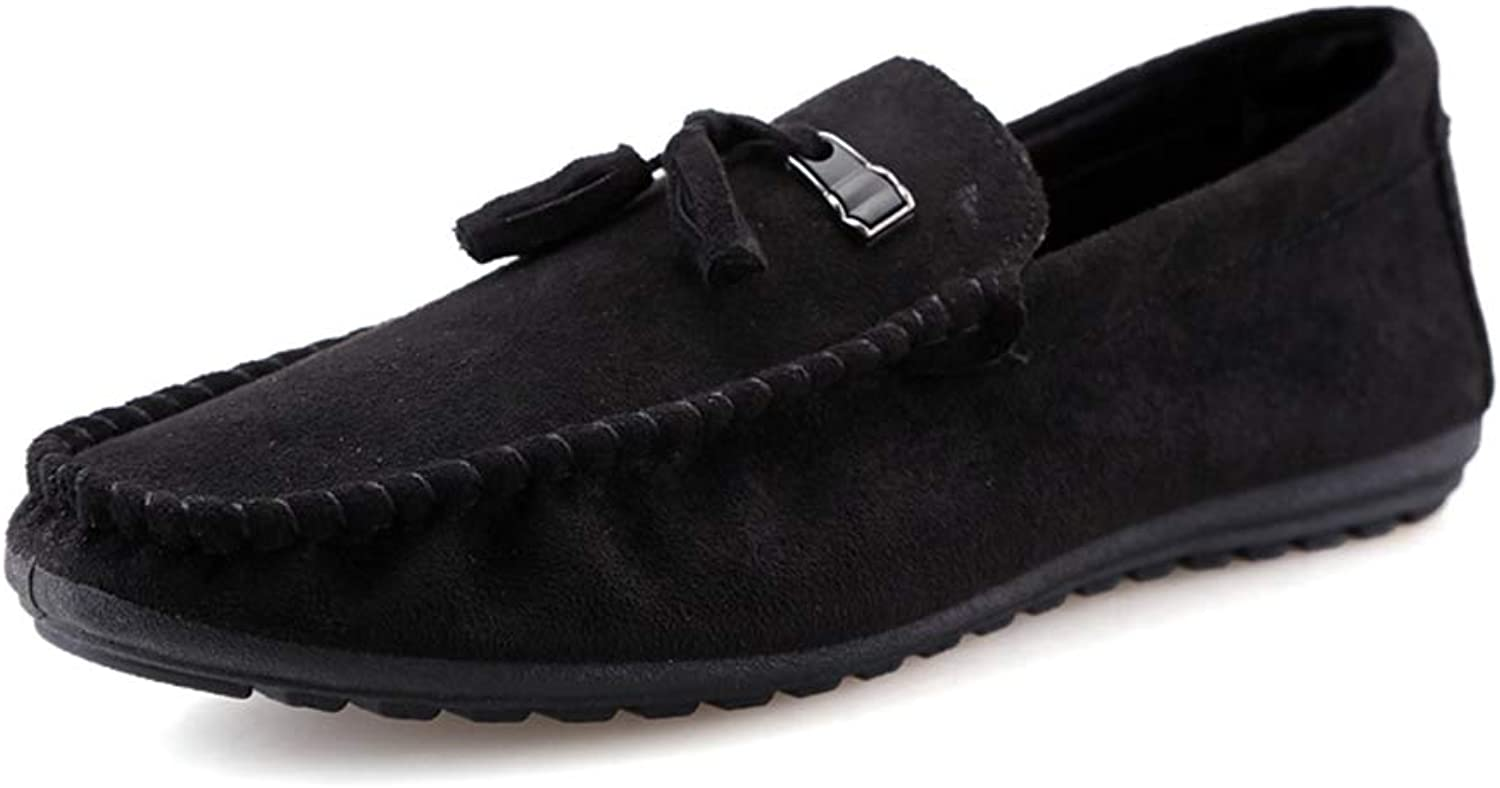 SHENTIANWEI Men Driving Loafers Casual Fashion Convenient Slip On Soft & Lite Solid Colour British Tassels Boat Moccasins