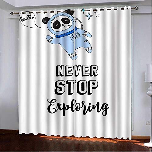 N/O Cortinas Opacas Cita inspiradora Cortina de oscurecimiento con Ojales metálicos Cortina de protección Visual fijación Sencilla a la Barra de la cortina-W168X183cmX2 Panel