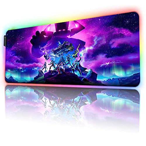 RGB Large Gaming Mouse Pad Galactus Skin,12 Lighting Modes & Non-Slip Rubber Base Mousepad-Long Glowing Laptop Desk Pad,Computer Keyboard and Mice Combo Pads Mouse Mat-31.5X11.8