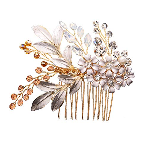 Diamantes de imitación Pelo Peine Cristales de flores Tocado Aleación Novia Accesorios...