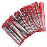 Emma - Agujas de tejer (acero inoxidable carbonizado de doble punta, 55 x 19 cm, 11 tamaños, 20 cm).