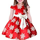 Tueenhuge Baby Girls Christmas Dress Toddler Snowflake Print Party Wedding Formal Dresses (Red, 7-8 Years)