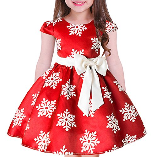 Tueenhuge Baby Girls Christmas Dress Toddler Snowflake Print Party Wedding Formal Dresses (Red, 3-4 Years)