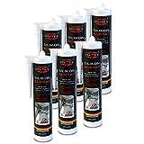 Silikon Sanitär 6 x 300 ml | Transparent | Acetat für Bad Dusche und WC | schimmelresistent | zum Abdichten und Verfugen