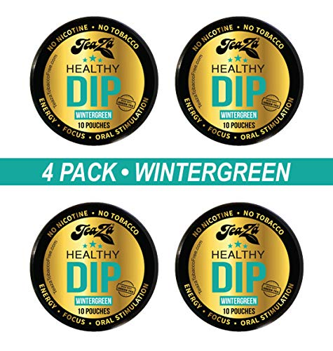 TeaZa Herbal Energy Pouches - Wintergreen with Caffeine - 4 Cans - Nicotine-Free and Tobacco-Free Herbal Snuff - Great Tasting & Refreshing Tobacco Alternative
