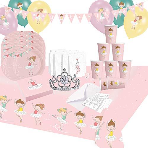 Krause & Sohn Juego de fiesta de cumpleaños para niños, muchos artículos de vajilla, decoración de cumpleaños, mesa de cumpleaños (bailarina)