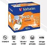 Verbatim 43521 4.7GB 16x DVD-R Printable - 10 Pack Jewel Case