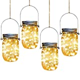 Aikeve Solar Mason Jar Lights,4 Pack 30 Led Starry Fairy String Hanging Jar Lights,Solar Lanterns for Outdoor Patio Party Garden Wedding Christmas Decorations Lights(Mason Jars/Handles Included)