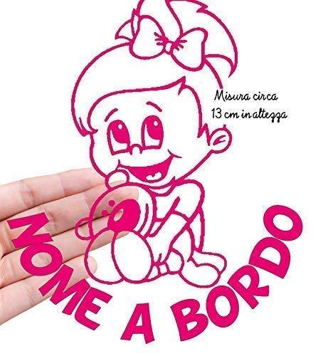 STICKEREDO Bimbo bimba bebè baby a bordo on board adesivo auto. adesivo bimbi a bordo con nome adesivo bebè per auto altezza 13 cm