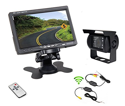 Accfly Wireless Backup Camera 7' TFT LCD Rear View Backup Monitor Waterproof Rear View Reverse Camera IR Night Vision for Car/Bus/Truck/Excavator