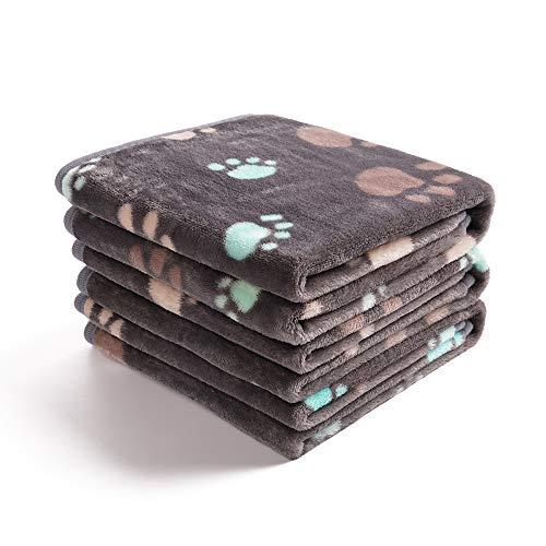 1 Pack 3 Decken Super Weich Fluffy Premium Fleece Haustier Decke Flanell Wurf für Hund Welpen Katze Grau Pfote,Large (104 * 78cm)
