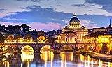 Jigsaw Puzzle, 1500 Piezas Rompecabezas de Juguete, Juegos de Rompecabezas para la Familia,Puzzle de Madera de 1500 Piezas para Adultos Vista nocturna de la ciudad de Roma