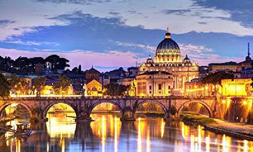 Puzzles para Adultos Rompecabezas de 1000 Piezas, Educativo Intelectual Descomprimiendo Juguete Divertido Juego Familiar Vista nocturna de la ciudad de Roma