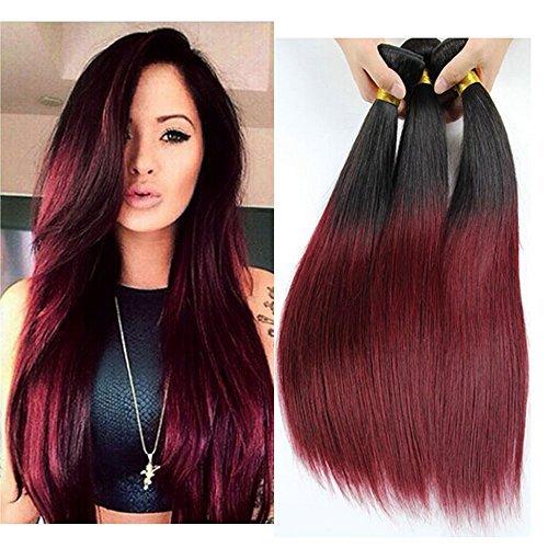 100% 3 Bundle Extension de cheveux humains brésiliens vierges Remy de Tissages Ombre Noir Rouge soyeuse droite trame 300 g 18 20 55,9 cm