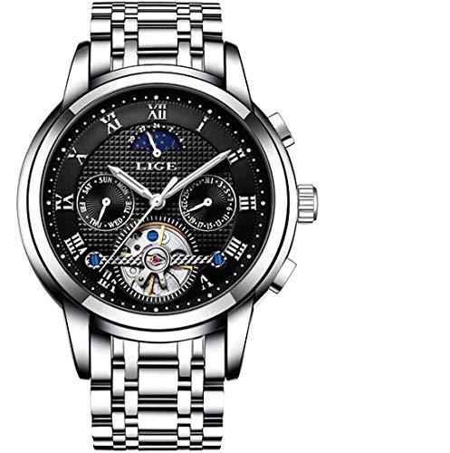 LIGE Herren Uhr Analog Automatik mit Edelstahl Armband 9851
