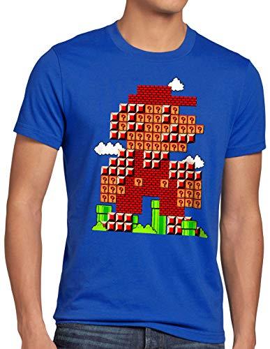 style3 Bros Level Camiseta para Hombre T-Shirt plomero 8bit japón Mario, Talla:S