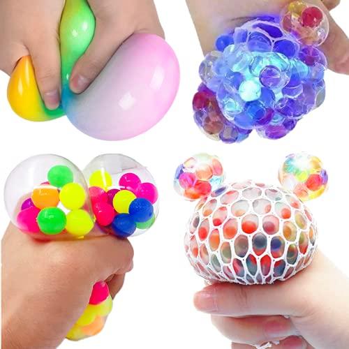4PCS Balles Anti-Stress pour Enfants Adultes Anxiété, Jouets Boules 4 Balle Molle Fidget Toys avec Perles Presser Balles Jouet Sensoriel Cadeau pour ADHD Autism include Balle D'air Balle LED etc.